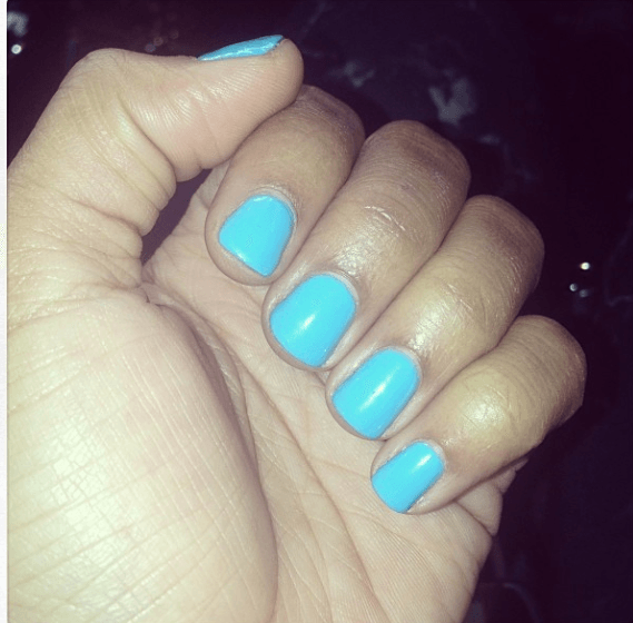 Simplicity With A Shade Of Blue Is What Boity S Playing Short And Neat Nails Are Easier To Maintain Quicker Change