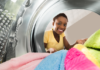 woman doing laundry on wash day