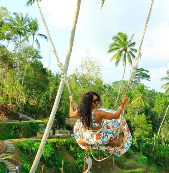 Thembi Seete vacays in beautiful Bali