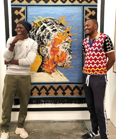Laduma Ngxokolo and Nelson Makamo donate their first-ever collab tapestry piece to charity